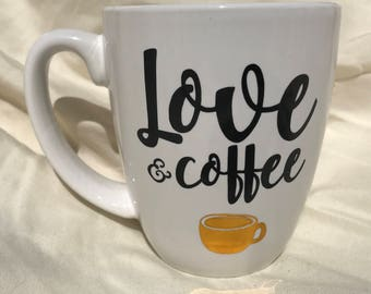 coffee mug, quote, Love and Coffee