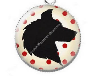 If the Wolf was little Red Riding Hood 3 resin pendant cabochon
