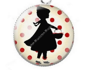 If the Wolf was little Red Riding Hood, 4 resin pendant cabochon
