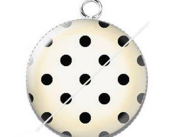 Pendant cabochon resin cute cat mimi poppy dots 5
