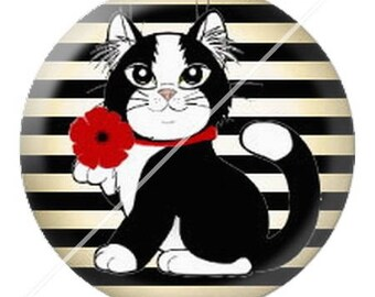 resin cabochon mounted on a stick 25 mm cute cat mimi poppy dots 2