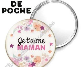 -Badge - 56mm Pocket mirror - I love you MOM 7