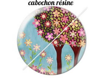 resin cabochon mounted on a stick tree 4 20 mm