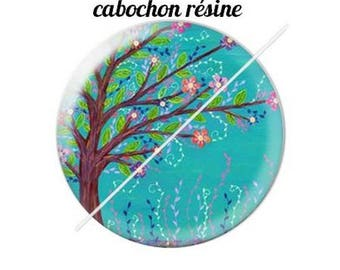 resin cabochon mounted on a stick tree 8 20 mm