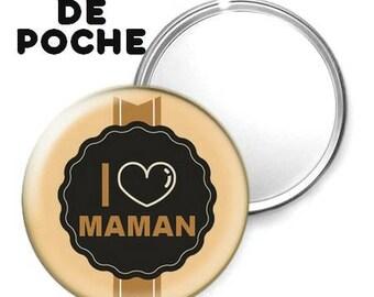 -Badge - 56mm Pocket mirror - I love you MOM 12