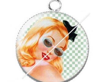 Girl vintage pinup 5 resin cabochon pendant
