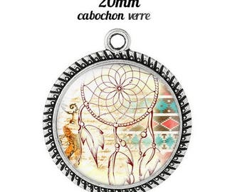 Pendant cabochon glass 20 mm dreamcatcher dream catcher Indian c8