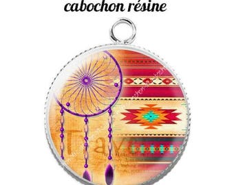 Pendant cabochon resin 20 mm dreamcatcher dream catcher Indian c10