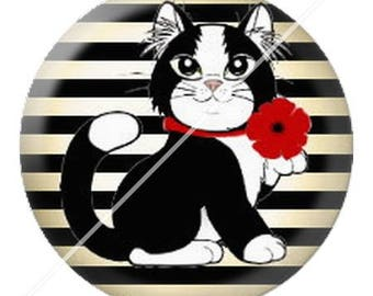 resin cabochon mounted on a stick 25 mm cute cat mimi poppy dots 13
