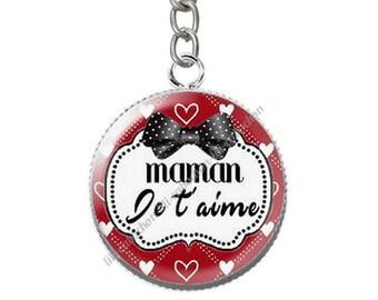 Keychain cabochon resin mum I love you