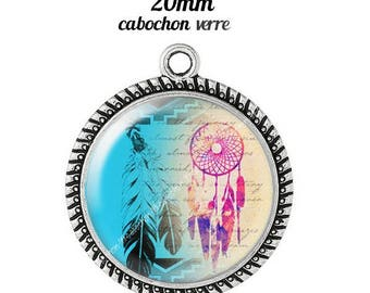Pendant cabochon glass 20 mm dreamcatcher dream catcher Indian c13