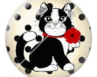 resin cabochon mounted on a stick 25 mm cute cat mimi poppy 8 dots