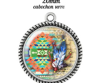 Pendant cabochon glass 20 mm dreamcatcher dream catcher Indian c11