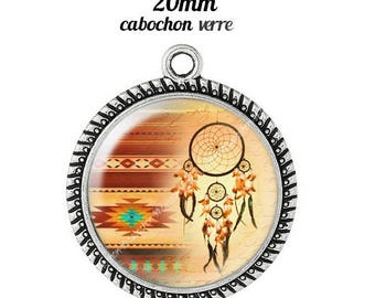 Pendant cabochon glass 20 mm dreamcatcher dream catcher Indian c1