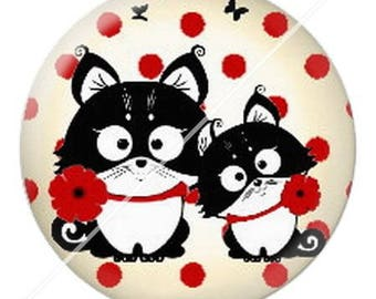 resin cabochon mounted on a stick 25 mm cute cat mimi poppy dots 6