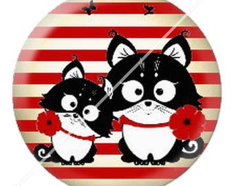 resin cabochon mounted on a stick 25 mm cute cat mimi poppy 11 dots