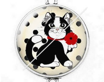 Great connector silver cabochon cute cat mimi poppy 8 dots