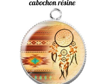 Pendant cabochon resin 20 mm dreamcatcher dream catcher Indian c1