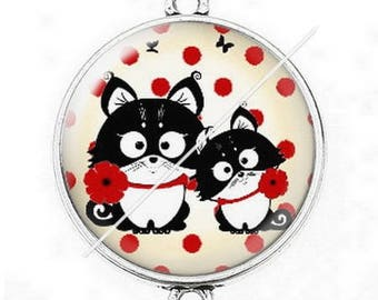 Great connector silver cabochon cute cat mimi poppy dots 6