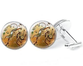 Glass cabochon cuff - links steampunk 5
