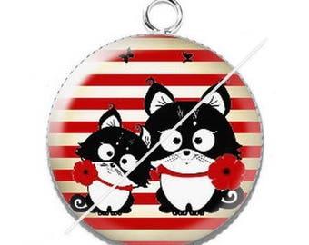 Pendant cabochon resin cute cat mimi poppy 11 dots