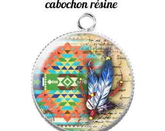 Pendant cabochon resin 20 mm dreamcatcher dream catcher Indian c11