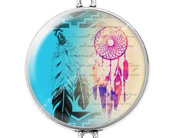 Great connector silver cabochon dreamcatcher dream catcher Indian c13