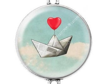 Large silver cabochon connector heart love Valentine love boat c10