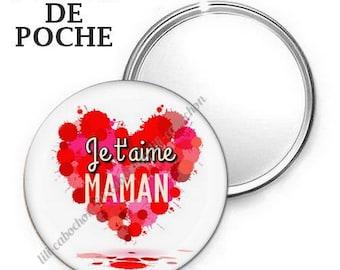 -Badge - 56mm Pocket mirror - I love you MOM