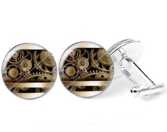 Glass cabochon cuff - links steampunk 2