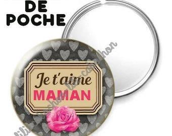 -Badge - 56mm Pocket mirror - I love you MOM 8