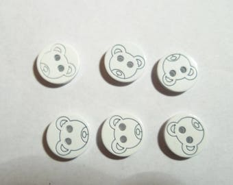 White Teddy bear buttons