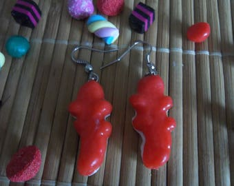 Candy crocodile with polymer clay earring