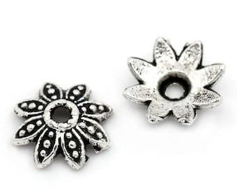 Cup flower metal silver 8 x 8 mm