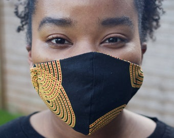Face mask, Ankara, African print, washable, wax, cotton, reuseable, cloth mask, breathable, fitted