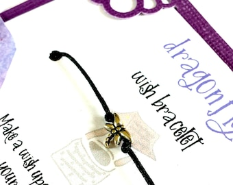 Dragonfly wish bracelet, Inspirational bracelet, Just because gift, Wish jewelry, Inspirational gift, for friend, Friendship anklet