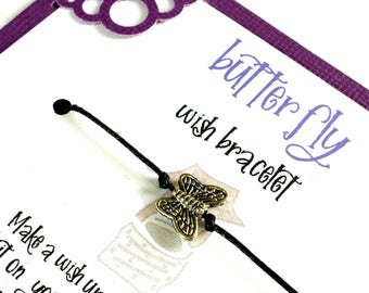 Butterfly charm wish bracelet for best friend, Girls night out gift, Wish jewelry, Friendship bracelet, Birthday gift for best friend,
