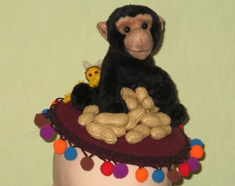 1950s Inspired Monkey Nuts Button Hat Fascinator