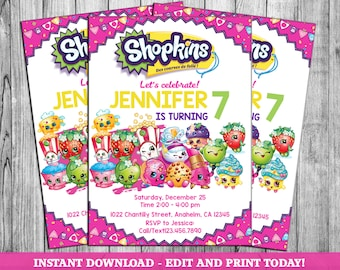 image about Shopkins Printable Invitations known as Shopkins invites Etsy