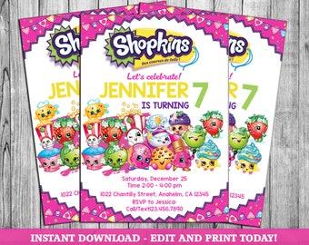 graphic regarding Shopkins Printable Invitations identify Shopkins invites Etsy