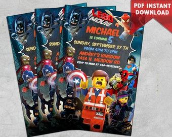 INSTANT DOWNLOAD Lego Birthday Invitation Party Movie PDF