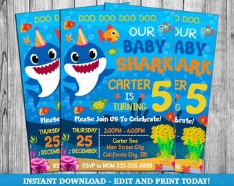 Baby Shark Invite Party Invitation Birthday