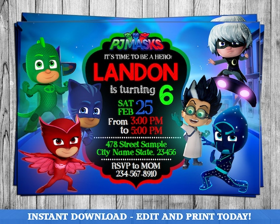 picture about Pj Mask Printable Template titled Pj Masks Invitation,Editable Pj Masks Invitation,Pj Masks Birthday Occasion,Pj Masks Printable,Pj Masks Disney,Chalkboard Invitation,Editable