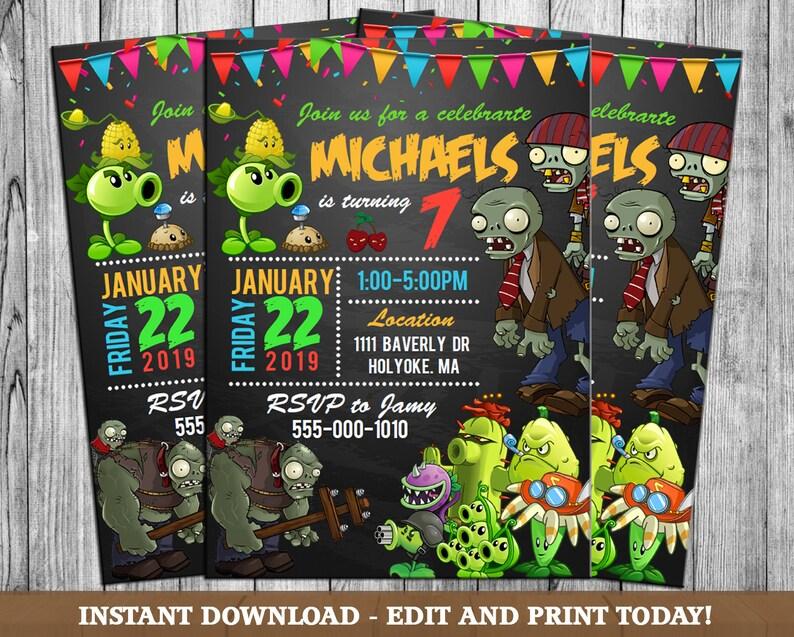 Plants Vs Zombies Invitation Party Birthday Theme Printables