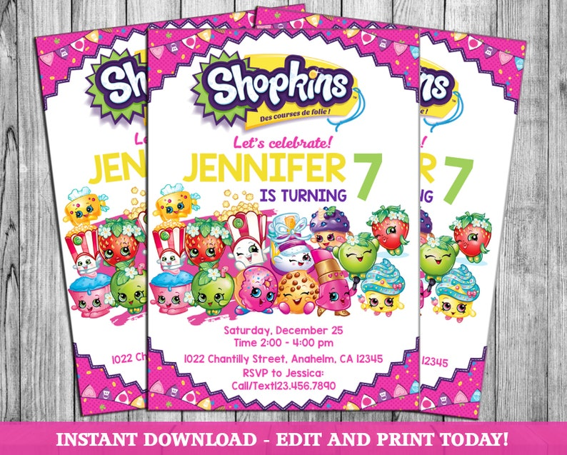 graphic about Shopkins Birthday Card Printable known as Shopkins Social gathering Invite, Shoppies Birthday Card Invitation, Shopkin Shoppie Printable, Shopville Electronic Invites - Fast Obtain