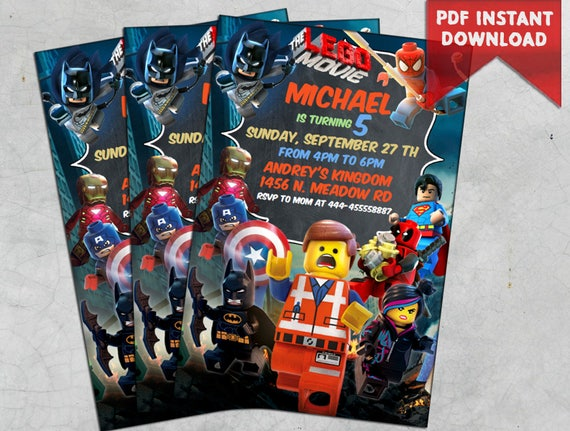 INSTANT DOWNLOAD Lego Birthday Invitation Party