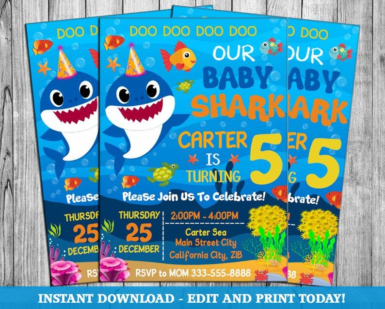 Baby Shark Baby Shark Invite Baby Shark Party Shark Etsy