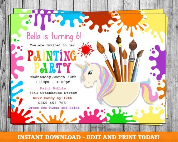 Painting Party Invitation Art Party Invitation Art Birthday Party Invitation Art Themed Party Paint Party Invites Painting Party