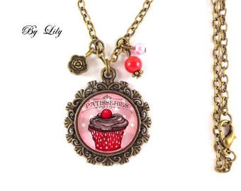 "Chocolate Cherry ""Cupcake"" necklace, retro pendant cabochons!"