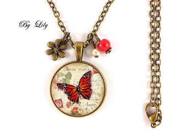 """Red spring Butterfly"" necklace, retro pendant cabochons!"